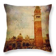 Piazza San Marco - Venice Throw Pillow