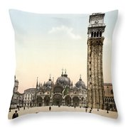 Piazza San Marco, 1890s Throw Pillow