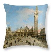 Piazza San Marco Looking Towards The Basilica Di San Marco  Throw Pillow