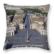Piazza San Pietro And Colonnaded Square As Seen From The Dome Of Saint Peter's Basilica - Rome, Ital Throw Pillow