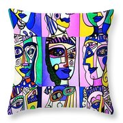 Picasso Blue Women Throw Pillow by Sandra Silberzweig