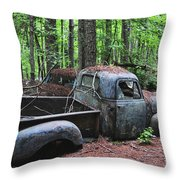 Pick Up Truck In The Woods Throw Pillow