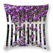 Picket Fence Rhododendron Throw Pillow