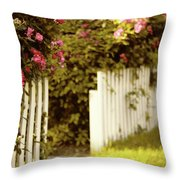 Picket Fence Roses Throw Pillow
