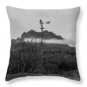 Picket Post Windmill Bw Throw Pillow