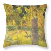 Picking Fruit From A Tree Throw Pillow