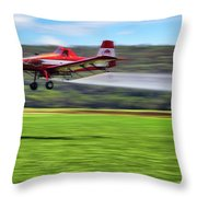 Picking It Up And Putting It Down - Crop Duster - Arkansas Razorbacks Throw Pillow