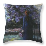 Picking Lilacs Throw Pillow