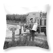 Picking Up Milk Cans Throw Pillow