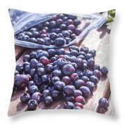 Picking Whortleberries Throw Pillow