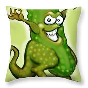 Pickle Monster Throw Pillow