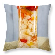 Pickled Vegetables In Clear Glass Jar Throw Pillow