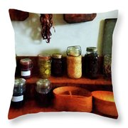 Pickles Beans And Jellies Throw Pillow by Susan Savad