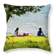 Picnic And Fishing Throw Pillow