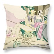 Picnic And Fishing Scene Throw Pillow
