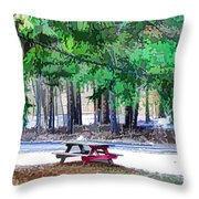 Picnic Area With Wooden Tables 3 Throw Pillow