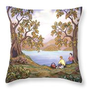 Picnic By A Lake Throw Pillow