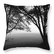 Picnic In The Fog Throw Pillow
