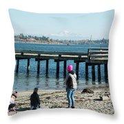 Picnic On Semiahmoo Beach Throw Pillow
