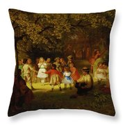 Picnic Party In The Woods Throw Pillow
