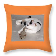 Pico And Toy Mouse Throw Pillow