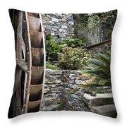 Pictueresque Waterwheel In Cinqueterre Garden Throw Pillow