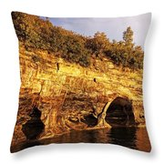 Pictured Rocks Caves Throw Pillow