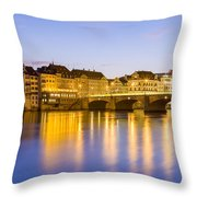 Picturesque Basel At Night Throw Pillow