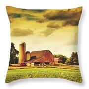 Picturesque North Dakota Farm Throw Pillow