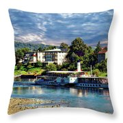 Picturesque River Cruise Throw Pillow