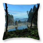 Picturesque Ruby Beach View Throw Pillow