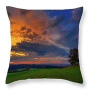 Picturesque Rural Sunset Throw Pillow