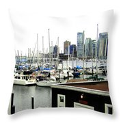 Picturesque Vancouver Harbor Throw Pillow