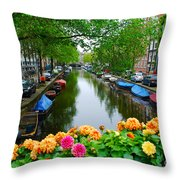 Picturesque View Amsterdam Holland Canal Flowers Throw Pillow