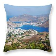 Picturesque View Of Skala Greece On Patmos Island Throw Pillow
