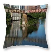 Picturesque View Of The Railroad Graffiti Bridge Over Lady Bird Lake As Canoes And Kayakers Paddle Under The Bridge On A Beautiful Summers Day Throw Pillow