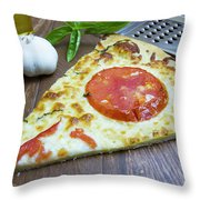 Piece Of Margarita Pizza With Fresh Ingredients Throw Pillow
