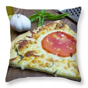 Piece Of Margarita Pizza With Ingredients Throw Pillow