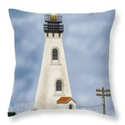 Piedras Blancas Lighthouse In California Throw Pillow by Anne Norskog
