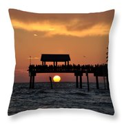 Pier 60 Clearwater Beach - Watching The Sunset Throw Pillow