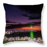 Pier And Lighthouse Throw Pillow