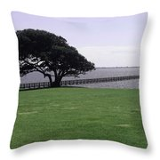 Pier And Tree By The River Throw Pillow