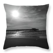 Pier At Myrtle Beach In Black And White Throw Pillow