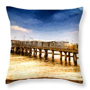 Pier At Sunset Oil Painting Photograph Throw Pillow