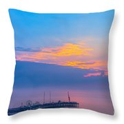 Pier Before Sunrise Throw Pillow