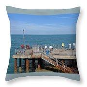 Pier Fishing At Llandudno Throw Pillow