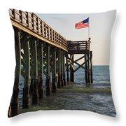 Pier, Flag, Fishing Throw Pillow