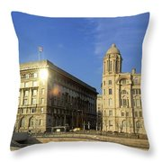 Pier Head Liverpool Panorama 2 Throw Pillow