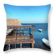 Pier In Champoton, Mexico Throw Pillow