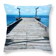 Pier Into The Blue Throw Pillow
